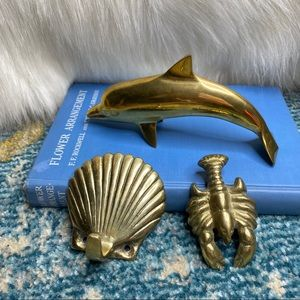 🌲Vintage Brass Dolphin Lobster Shell Hook Patina